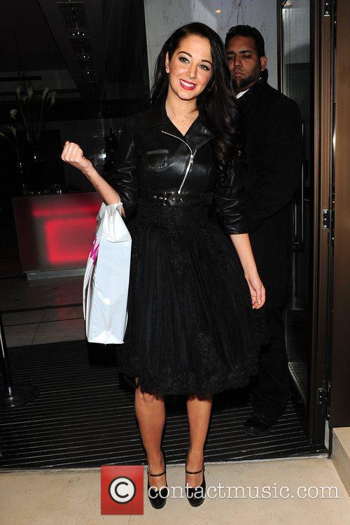Tulisa Contostavlos leaving Roof Gardens Club London, England