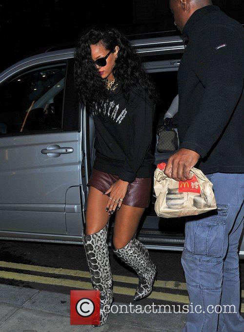Rihanna plays outside the Rose Club London, England