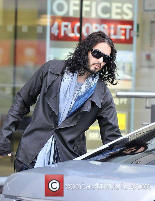 Russell Brand leaving an office in Central London....
