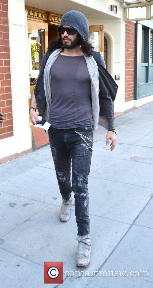 Russell Brand leaves Roxberry Cafe in Beverly Hills.