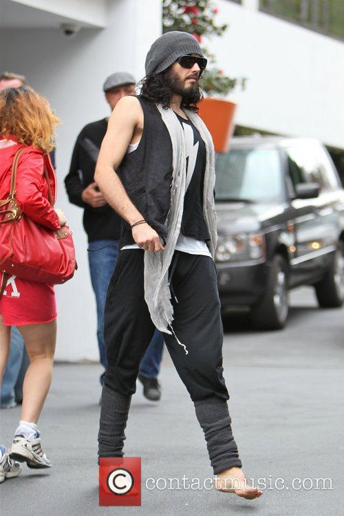 Russell Brand is seen in good spirts after...