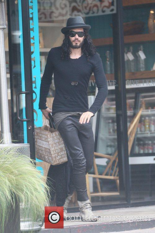 Russell Brand visits Cafe Gratitude in Los Angeles