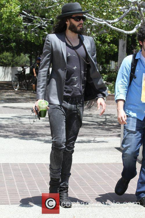 Russell Brand is seen out and about in...