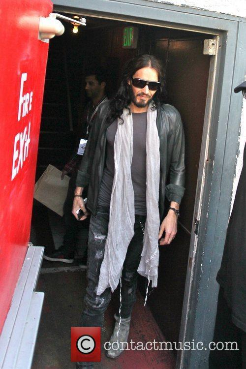 Russell Brand leaving the Troubador Theatre after a...