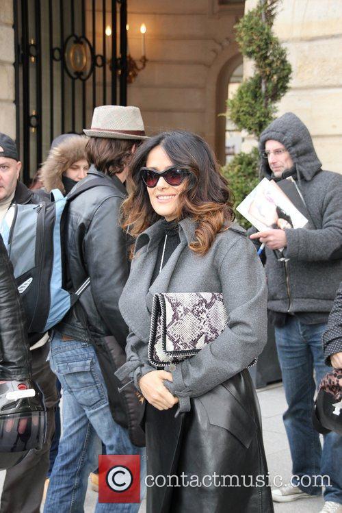 Salma Hayek leaving her hotel Paris, France