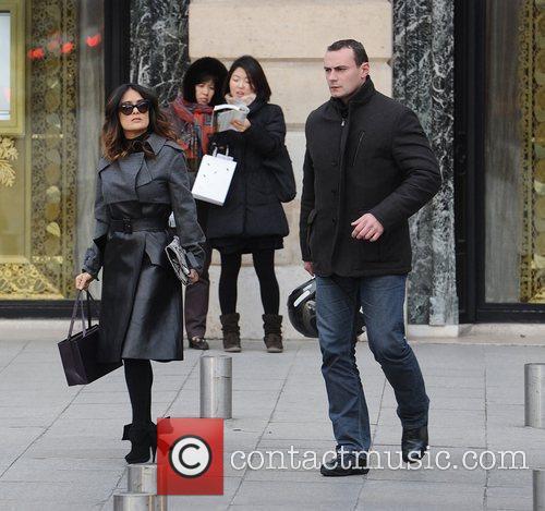 A stylish looking Salma Hayek seen shopping near...