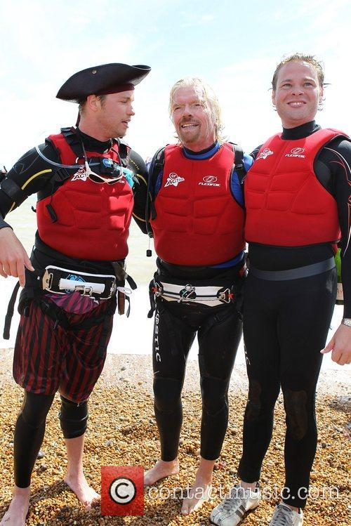 Richard Branson with his son Sam Branson after...