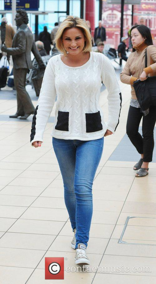 Sam Faiers arriving at a train station in...