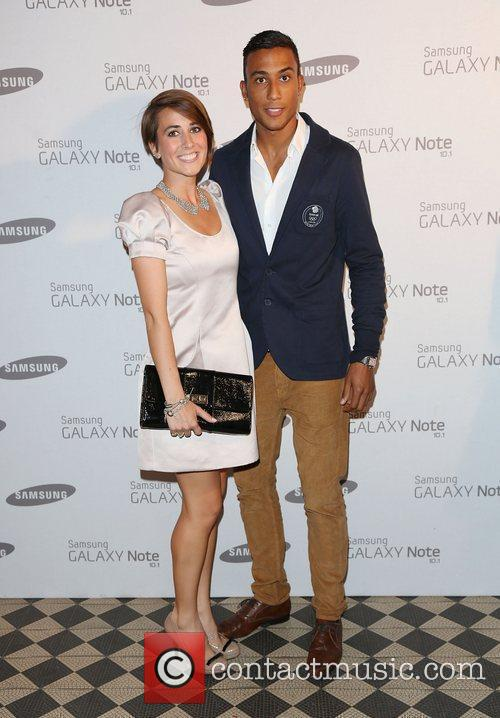 Emily Pidgeon and guest Samsung celebrate the launch...