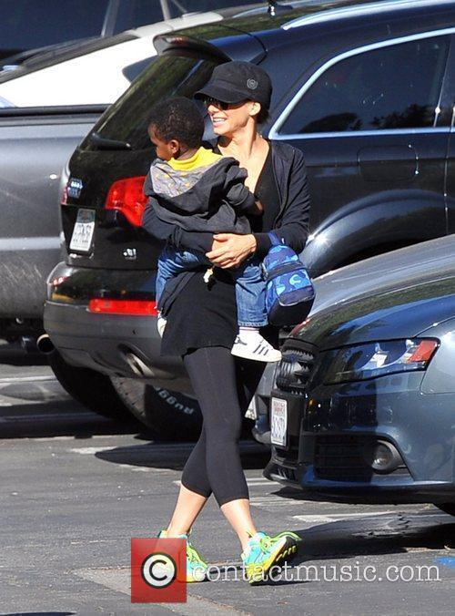 Seen picking up her son Louis from school