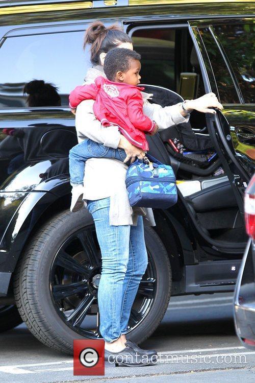 Sandra Bullock is seen taking her son Louis...