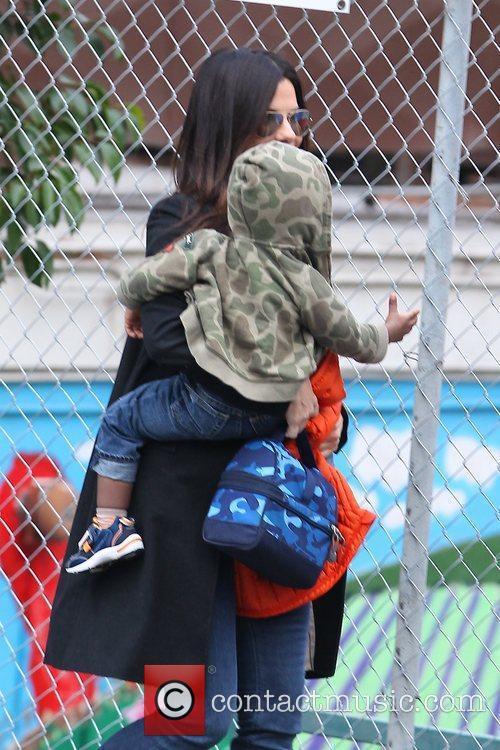 Sandra Bullock and son Louis Bardo Bullock seen...
