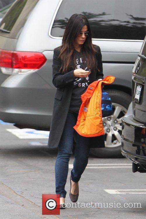 Sandra Bullock  seen dropping off her two...