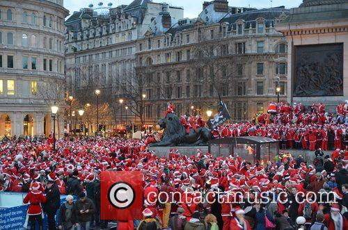 London's SantaCon2012 in Trafalgar Square, which is part...