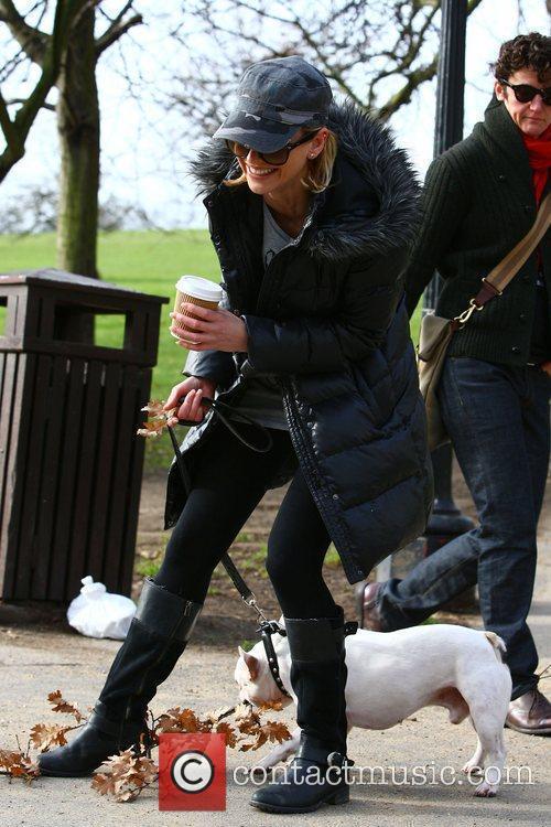 Sarah Harding walking her dog Claude in North...