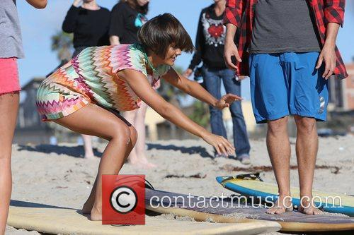 Frankie Sandford of The Saturdays takes surfing lessons...