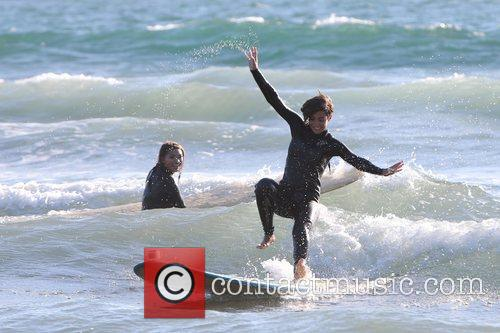 Frankie Sandford  The Saturdays enjoy a surfing...