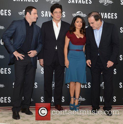 Benicio Del Toro, Oliver Stone, Salma Hayek, John Travolta, Savages, Mandarin Oriental, London and England 1