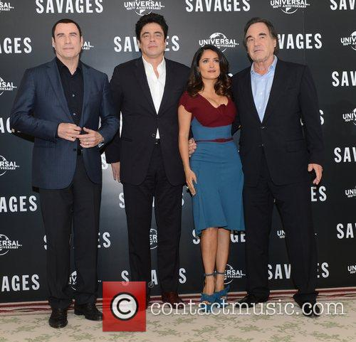 Benicio Del Toro, Oliver Stone, Salma Hayek, John Travolta, Savages, Mandarin Oriental, London and England 2