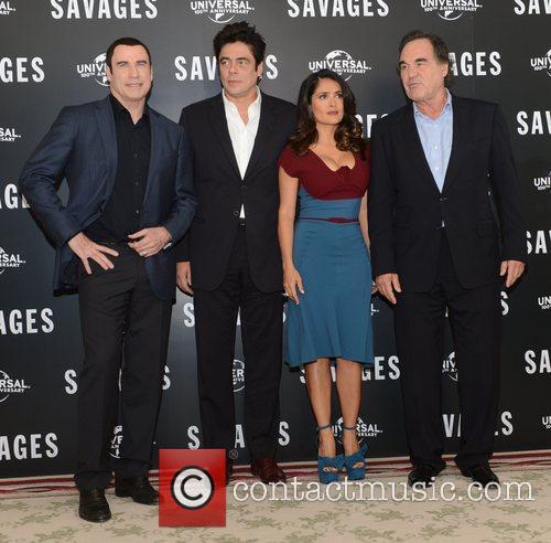 Benicio Del Toro, Oliver Stone, Salma Hayek, John Travolta, Savages, Mandarin Oriental, London and England 5