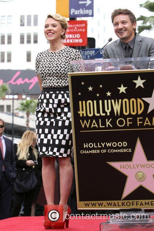Jeremy Renner, Scarlett Johansson and Star On The Hollywood Walk Of Fame 6