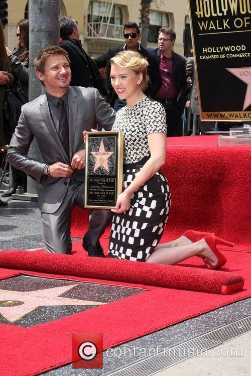 Scarlett Johansson, Jeremy Renner and Star On The Hollywood Walk Of Fame 1