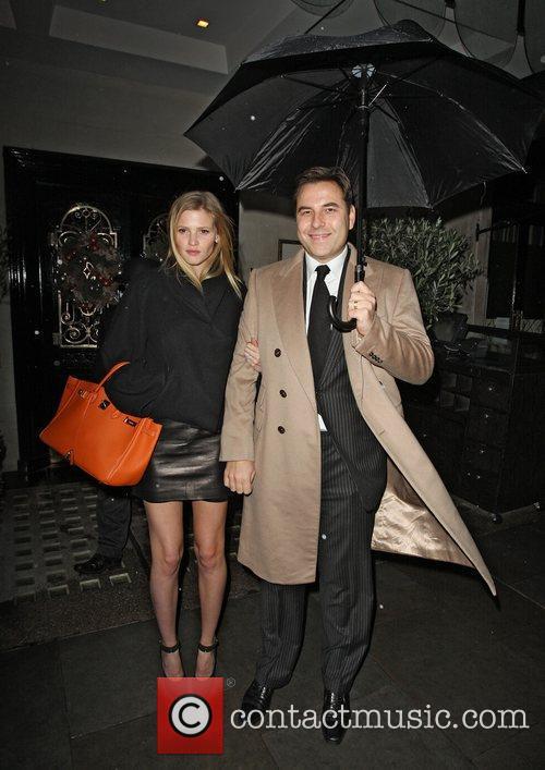 David Walliams and Lara Stone leaving Scotts restaurant...