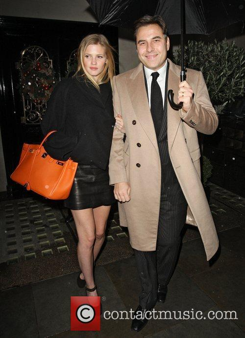 David Walliams and Lara Stone leaving Scotts restaurant...