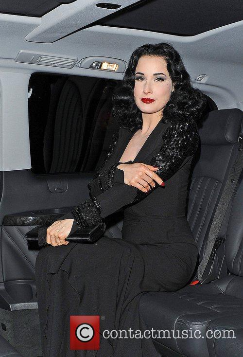 Dita Von Teese leaves Scotts restaurant.