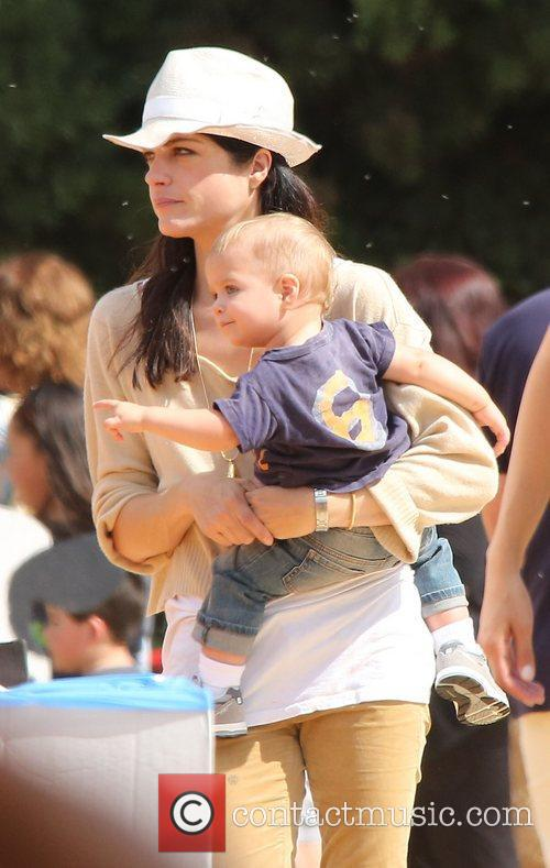 Selma Blair, Arthur Saint Bleick and Mr. Bones Pumpkin Patch 12