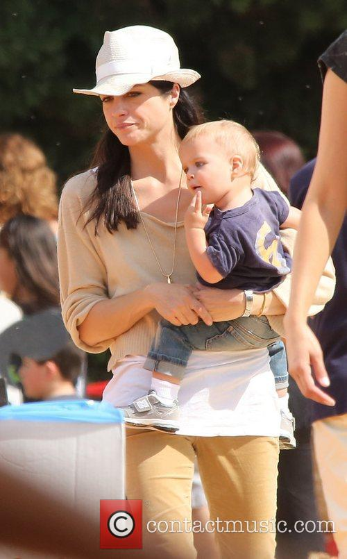 Selma Blair, Arthur Saint Bleick and Mr. Bones Pumpkin Patch 2
