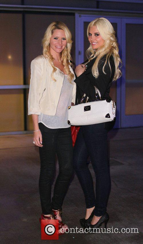 Playmates Kristina Shannon and Ashley Mattingly leaving the...