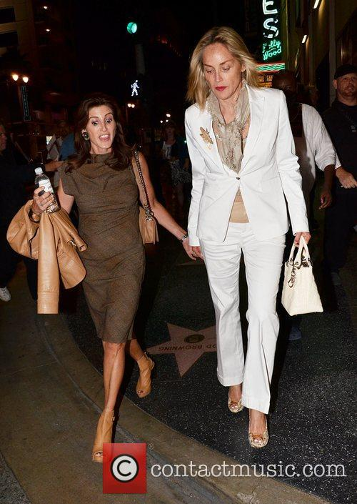 Sharon Stone seen leaving the Pantages theatre in...