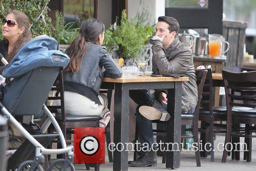Shenae Grimes eating lunch with a friend at...