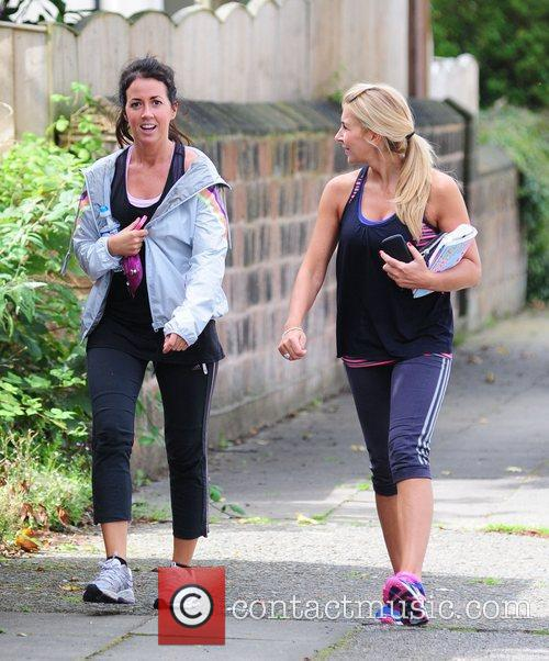 Leaving the gym with her personal trainer