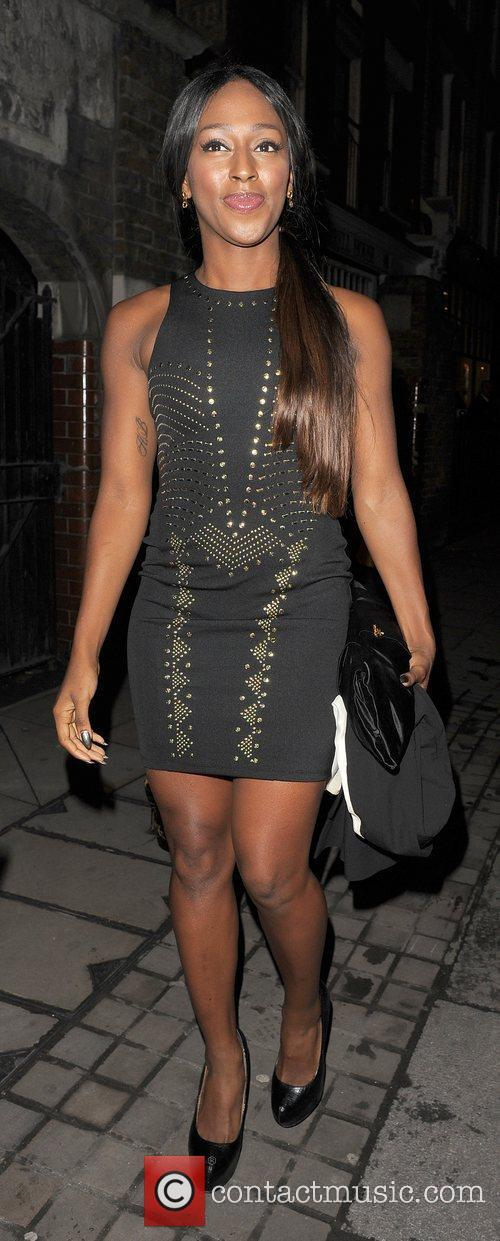Alexandra Burke leaving a party in Shoreditch.