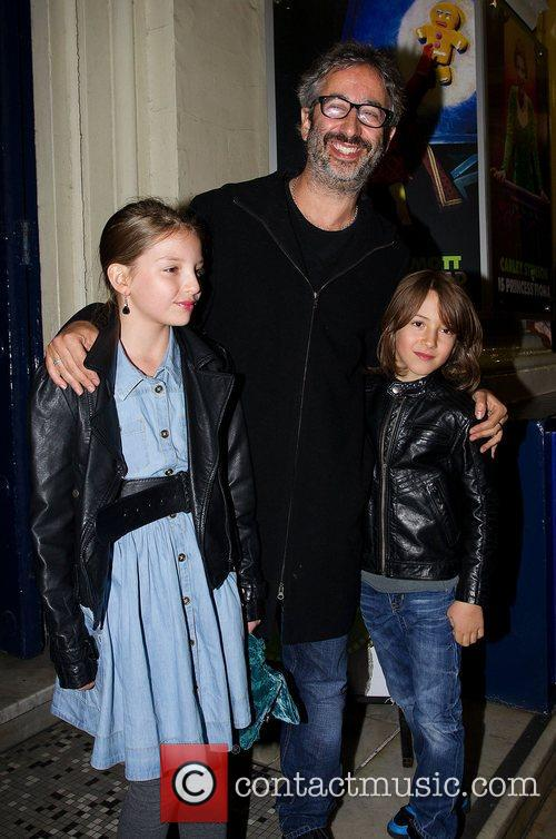 David Baddiel arrives with children Dolly Loveday and...