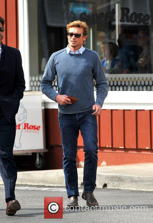 Simon Baker  leaving lunch with a friend...