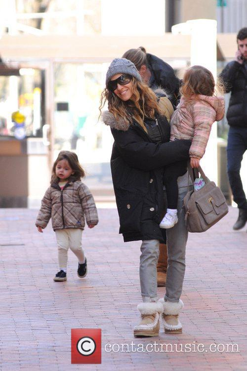 Sarah Jessica Parker is seen taking her twin...