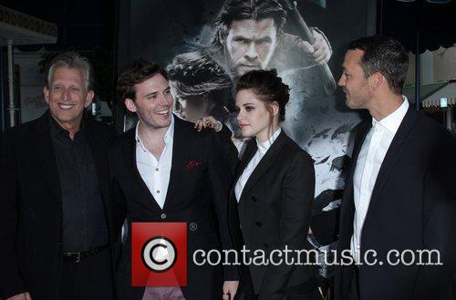 Joe Roth, Kristen Stewart and Sam Claflin 2