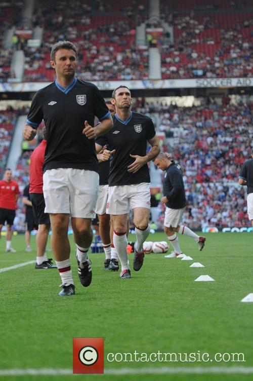 Jonathan Wilkes and Martin Keown Soccer Aid 2012...