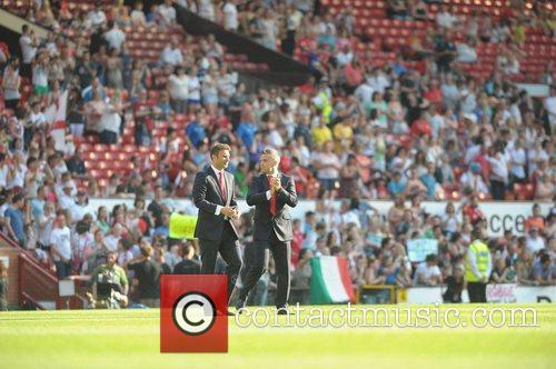Jonathan Wilkes and Robbie Williams Soccer Aid 2012...