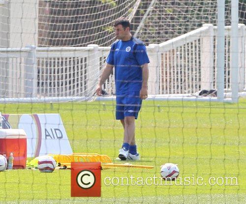 Joe Calzaghe Training for the Soccer Aid match...
