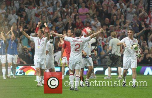 England celebrate  Soccer Aid 2012 in support...