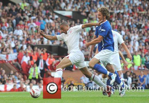 Marvin Humes and Gerard Butler  Soccer Aid...