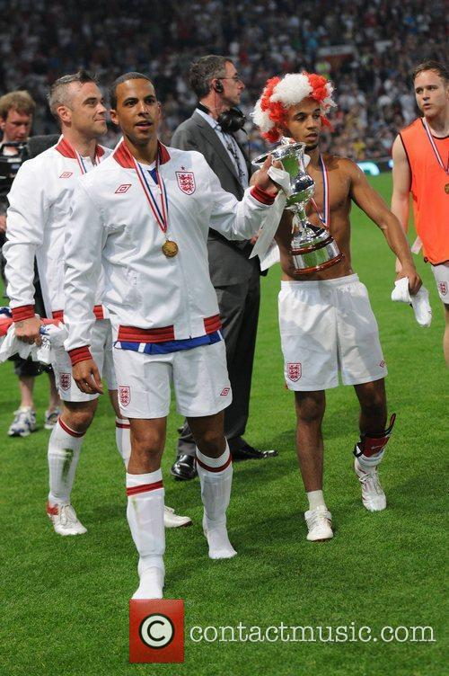 Marvin Humes, Robbie Williams, Aston Merrygold  Soccer...