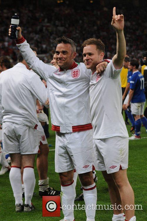 Robbie Williams and Olly Murs  Soccer Aid...