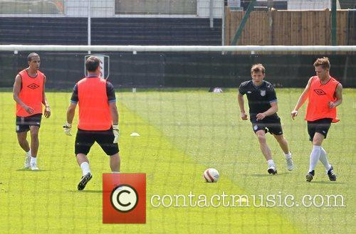 Celebrities training for the Soccer Aid match which...