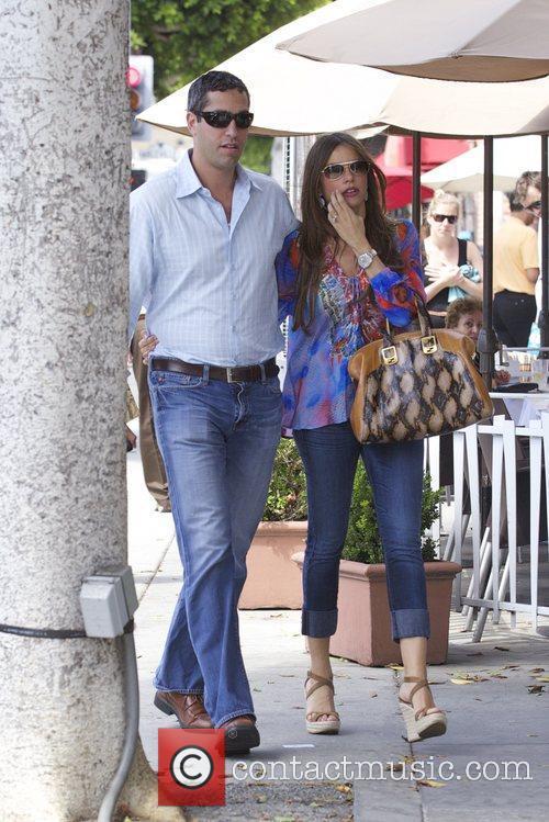 Sofia Vergara and fiancee Nick Loeb are seen...