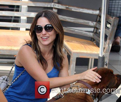 Sophia Bush petting a friends Dog, while out...